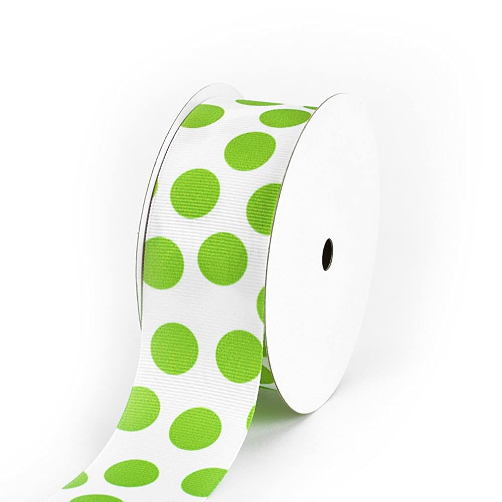 Creative Ideas Grosgrain Party Dots Ribbon, 1-1/2-Inch, Apple Green