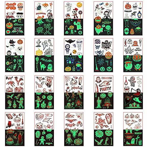 20 fogli Halloween Tatuaggi Temporanei Luminosi per bambini, 200 pcs Impermeabile Adesivi per l'arte del corpo Tatuaggi finti per festa del trucco Bomboniere Costumi Cosplay Decalcomanie per il viso