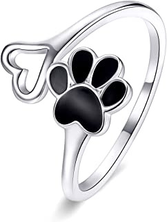 Reffeer 925 Sterling Silver Dog Paw Print Adjustable Ring for Women Girls Pet Dog Cat Ring Love Heart Open Ring