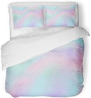 SanChic Duvet Cover Set Blue Iridescent Ombre Pink Gradient Color Pattern Pastel Decorative Bedding Set with 2 Pillow Cases Full/Queen Size