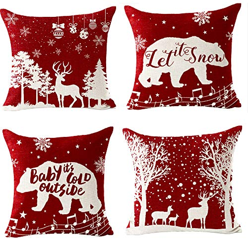 Set of 4 Best Gift Merry Christmas Snowflake Deer Family Forest Let It Snow Music Cotton Linen Throw Pillow Case Personalized Cushion Cover New Home Office Decorative Square 18 X 18 Inches¡­