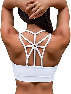 YIANNA Women's Padded Sports Bra Cross Back Medium Support Workout Running Yoga Bra