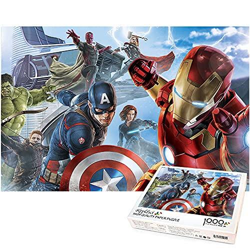 Rompecabezas de 1000 piezas de Capitán América y Iron Man Los Vengadores Rompecabezas de 1000 piezas Difícil y desafiante Juguete educativo para aliviar el estrés Marvel hero 52x38cm