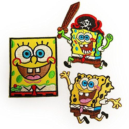 spongebob 3Pセット SET スポンジボブ キャラクター ワッペン イエロー