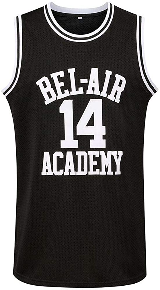 Generies #14 The Fresh Prince of Bel Air Academy Men Basketball Jersey, Black: Clothing