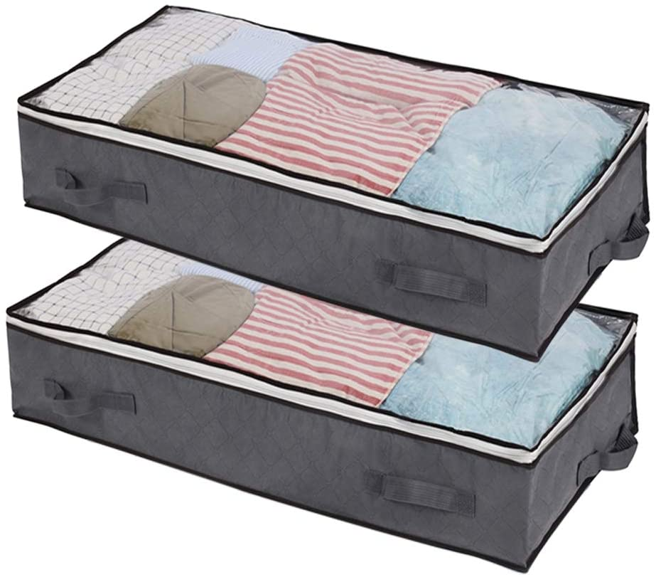 JERIA Max Overseas parallel import regular item 44% OFF 2 Pack Large Underbed Organizer Container wit Bags Storage