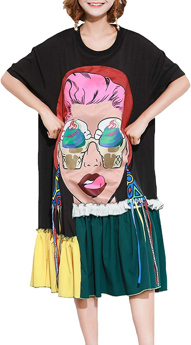 ellazhu Women's Summer Scoop Neck Printed Oversized T Shirt Long Dress with Ruffle Hem GA1435