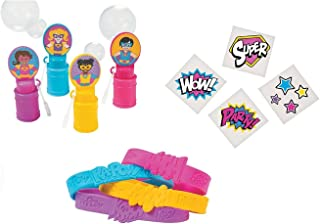 Superhero Girl Party Favors Wristbands Bubbles and Tattoos - (60Pieces)