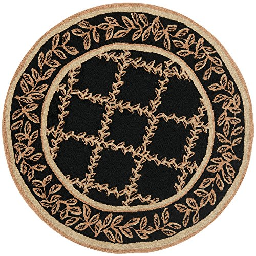 Safavieh Chelsea Collection HK230D Hand-Hooked Black and Gold Premium Wool Round Area Rug (3' Diameter)
