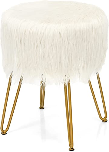 popular Giantex Faux Fur Vanity Stool Chair, Ottoman Footrest w/ Padded Seat, Round Footstool 2021 for Living Room Bedroom, Dressing Accent Stool w/ Metal Legs, Kids Room high quality Chair, Upholstered Furniture(White) online