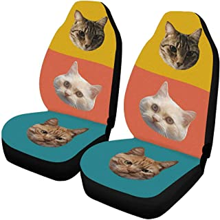 Custom Cat Face Car Seat Covers Set of 2 Fron Seats Protectors Auto Accessories