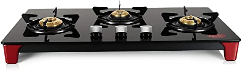 Pigeon by Stovekraft Infinity Glass Top 3 Burner Gas Stove Manual Ignition Black