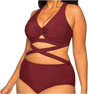 HebeTop Women's Bandage Criss Cross One Piece Monokini Swimsuit Swimwear