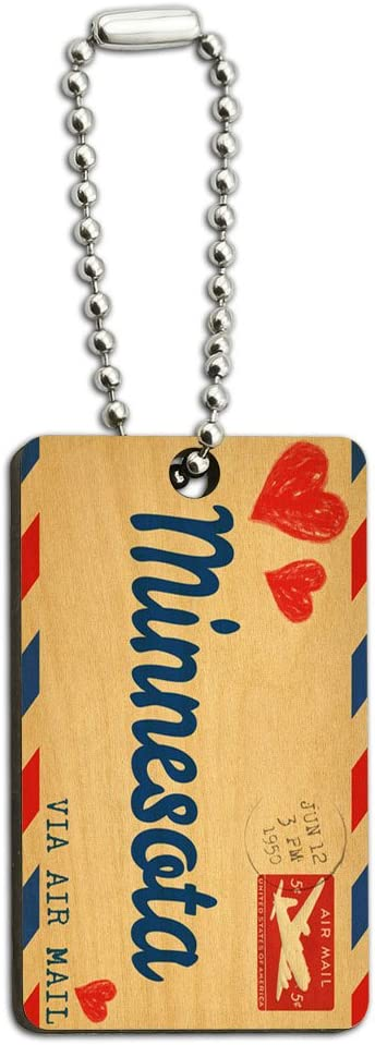 Graphics and More Air Mail Postcard Love for Minnesota Wood Wooden Rectangle Key Chain