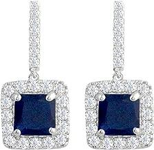 SELOVO Classic Art Deco Drop Earrings Blue/White Square Cubic Zirconia Silver Tone