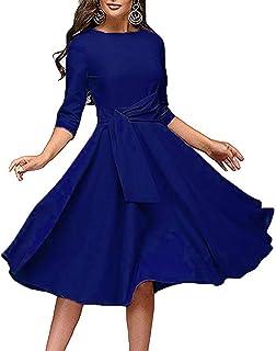 Women's Elegance Audrey Hepburn Style Ruched Dress Round Neck 3/4 Sleeve Sleeveless Swing Midi A-line Dresses