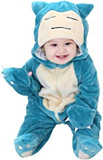 ZS ZHISHANG Bleu Pokemon Snorlax Baby,Blue Pokemon Snorlax Baby Jumpsuit Baby Fleece Footed Jumpsuit Pram Infant Pajamas K...