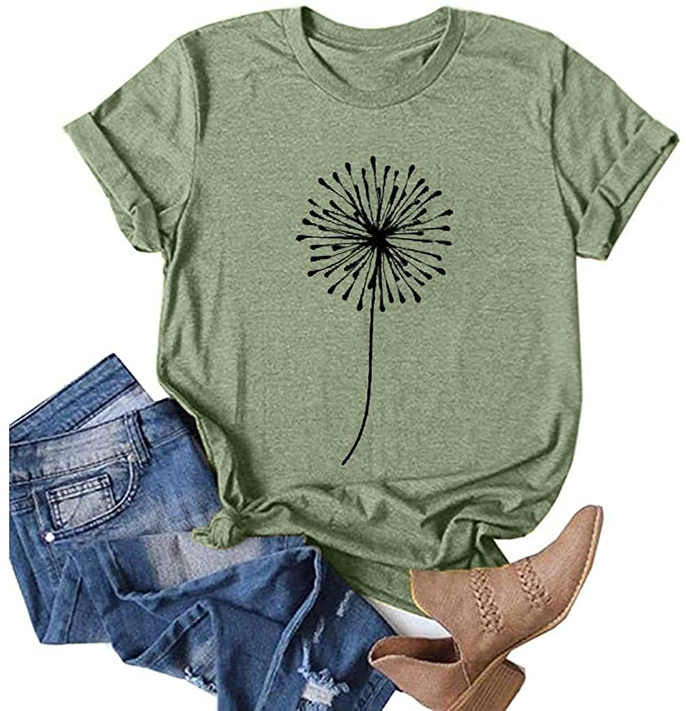 Qopobobo Womens Tops Short Sleeve Tops Loose T-Shirts Printing Butterfly Casual O-Neck Graphic Blouse Tops Shirts Girls