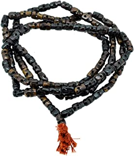 Hinky Imports Dark Brown Yak Bone 108 Beads Skull Mala Prayer Beads Necklace, Skull Necklace (Brownish Black Skull)