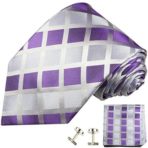 Cravate homme à carreaux violet ensemble de cravate 3 Pièces ( longueur 165cm )