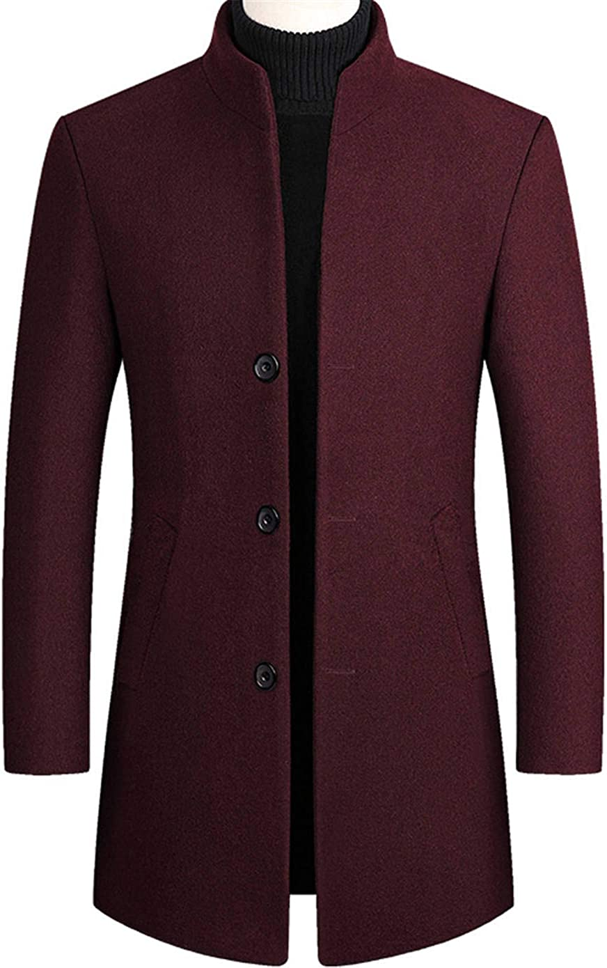 Soluo Mens Winter Warm Wool Coat Jacket with Removable Vest Casual Trench Coat Quilted Lined Overcoat (Red Wine,Large)