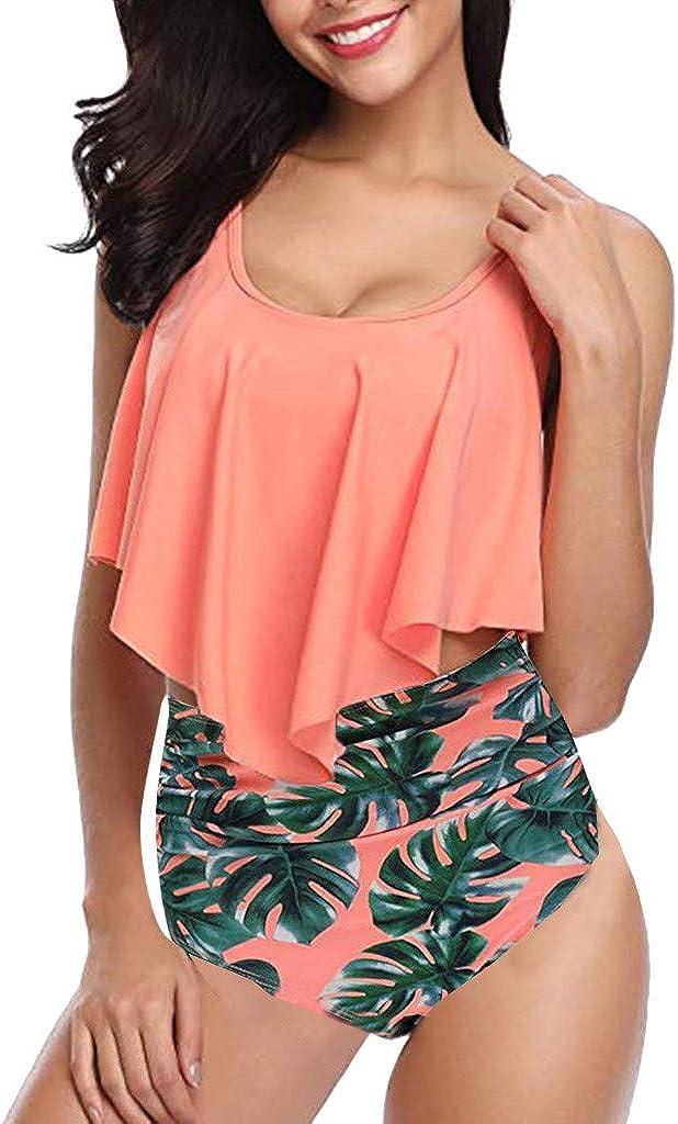 Ulanda Switmsuit for Women Plus Size Two Pieces Ruffled Racerback High Waisted Bottom Tankini Set Bathing Suits