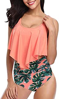 Bsjmlxg Women Swimsuit Two Pieces Top Ruffled Backless Racerback with High Waisted Bottoms Multi-Color Tankini Set
