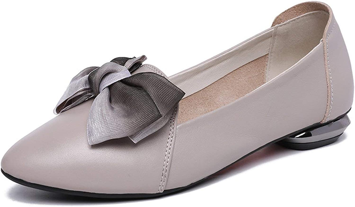 Flats Woman Bow Tie Pointed Toe Shallow Women shoes Genuine Leather Comfortable Flat shoes