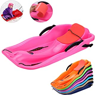 Snow Sled Kids Toboggan with Brakes & Anti-Slip Foot Panels - Baby Pull Sled Sand Grass Skiing Snowboard Boat Sleigh for Kids
