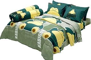 Tamegems Bedding Kabigon Snorlax Pokemon Official Licensed Green Yellow Bed Sheet Set, 1 Fitted Sheet, 2 Pillow Case, 2 Bolster Case (not Included Comforter) DLC015 Set B (Queen(60