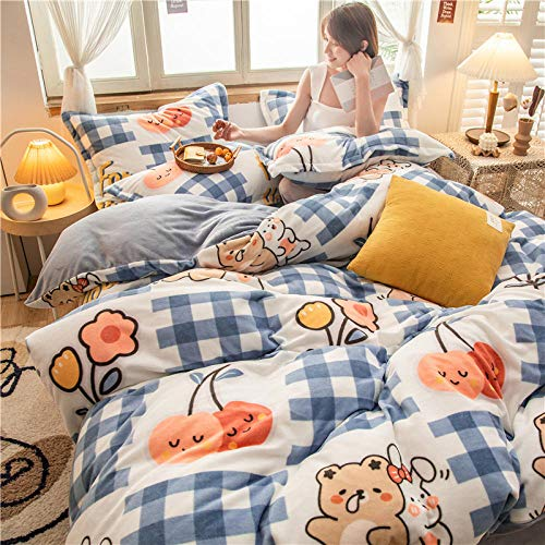 Shinon teddy bear bedding single bed,Winter cute thick double-sided French down duvet cover sheet pillowcase bedding-J_Three 1.2m beds