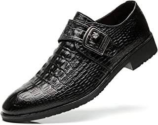 Bin Zhang Business Oxford for Men Formal Shoes Pointed Toe Slip on PU Leather Monk Strap Buckle Croc Texture Embossed Stitch Anti-Slip (Color : Black, Size : 8 UK)