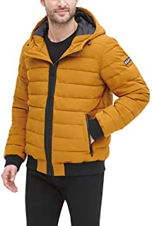 DKNY Men's Quilted Performance Hooded Bomber Jacket Down Alternative Coat