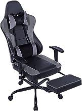 Gaming stoel, verstelbare lederen bureaustoelen met hoofdsteun lendensteun en intrekbare voetsteun, ergonomische race-stij...