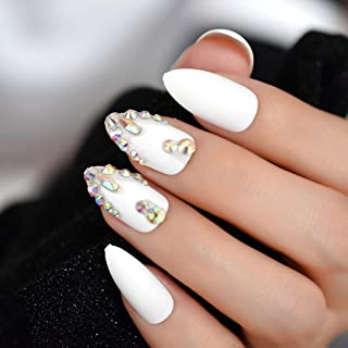 Meili Gorgeous Jewelly Fake Nails Custom Matte Rhinestones 3D Handmade Press On Nails Finger Nail Tips L5066