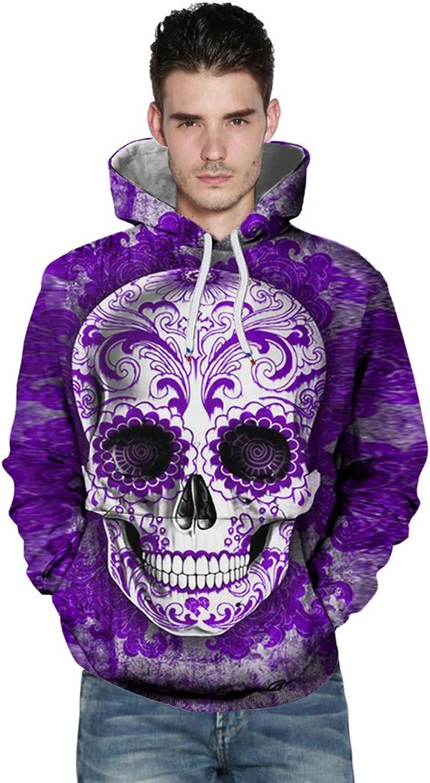 DGWEIZHI Unisex 3D Digital Print Skull Horror Fashion Hooded Sweater Sweatshirt with Pockets