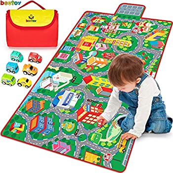 Kids Road Carpet Play Mat for Toy Cars Portable Anti-Slip Large Play Rug for Toddlers with 6 Car Children Educational Road Traffic Play Mat for Play Room Game