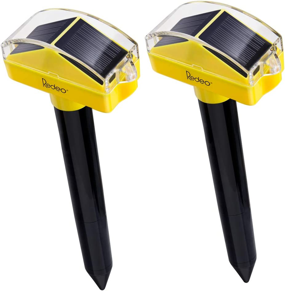 Redeo Solar Powered Ultrasonic Mole Repellent Gopher Repeller Vole Deterrent Pest Groundhog Chaser for Lawn Garden Yard Outdoor 2 Pack Yellow