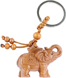 Axmerdal My Lucky Feng Shui Wooden Elephant Amulet Keychain Keyring Door Car Key Chains Rings Tags