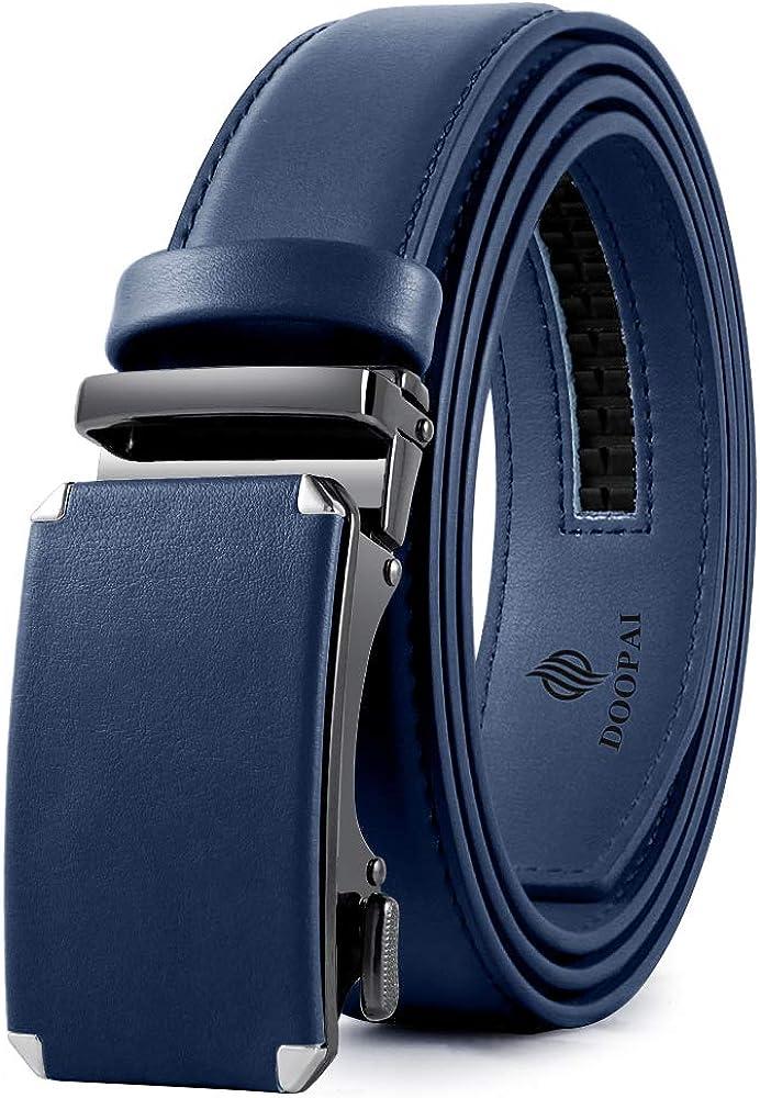 Men'S Leather Ratchet Belts,Adjustable Belt With Metal Bukle Belts For Men
