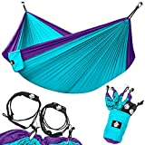 Legit Camping Double Hammock - Lightweight Parachute Portable Hammocks for Hiking, Travel, Backpacking, Beach, Yard Gear Includes Nylon Straps & Steel Carabiners (Purple/Teal)