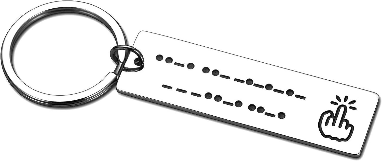 Funny Morse Code Friendship Keychain Jewelry Gif for Women Men Best Friend Teen Girls Boys Bff Graduation Birthday Christmas Gif Hidden Message for Wife Husband Girlfriend Boyfriend Son Daughter