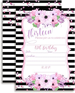 13th Birthday Invitations with Pink and Purple Watercolor Flowers and Striped Background, 20 5