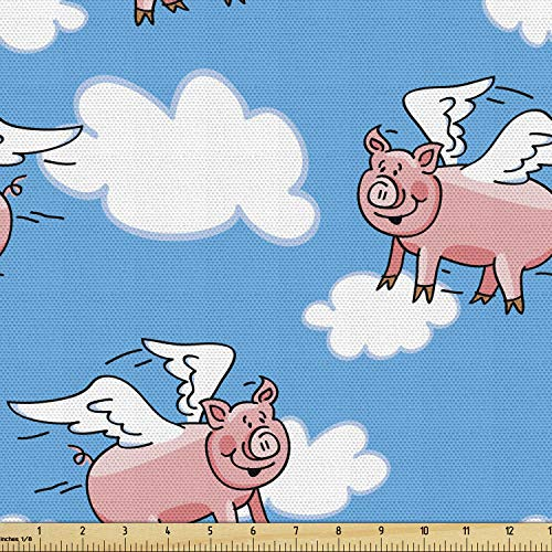 Lunarable Pig Fabric by The Yard, Flying Pig Cartoon Style Characters with Wings The Saying Kid Clouds Cartoon Style Print, Decorative Fabric for Upholstery and Home Accents, 3 Yards, Pink Blue