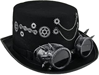 Steampunk Top Hat with Metallic Silver Gears & Goggles
