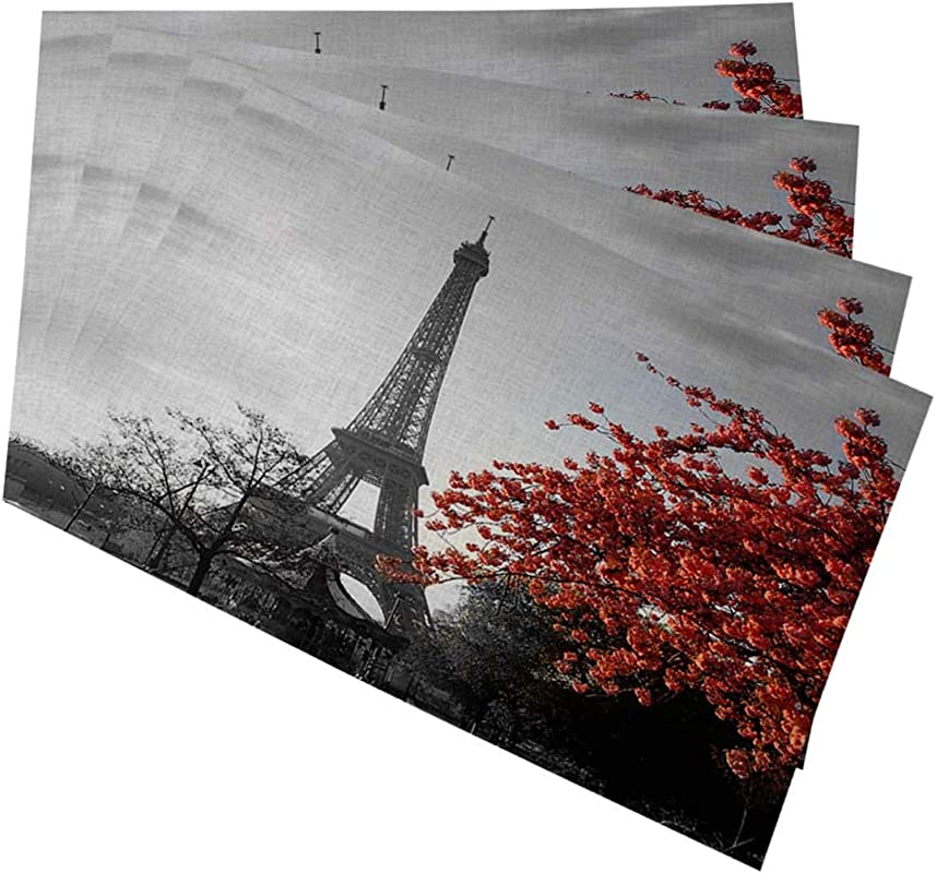 Mugod Eiffel Tower Placemats Grey Paris Eiffel Tower With Cityscape Red Flower Decorative Heat Resistant Non Slip Washable Place Mats For Kitchen Table Mats Set Of 4 12 X18