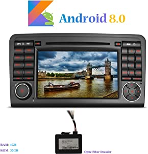 Hi-azul Android 8 0 Autoradio Din In-dash 7 quot  Car Stereo Octa-Core 64Bit RAM ROM 32G Car Radio con Touch Screen Lettore DVD per Mercedes-Benz ML GL Serie  con Decodificatore Fibra Ottica