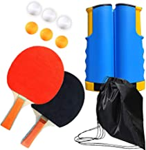 Professional Ping Pong Paddle Set with Retractable Net (Bracket Clamps), Balls, and Posts (6-Star) Regulation Table Tennis...