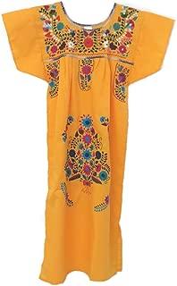 Leos Mexican Imports Mexican Dress Puebla (XXL, Canary)