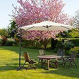 Hengda Für Garten, Terrasse, Loggia, Balkon, Camping-Platz, Pool, Planschbecken 3.0m Beige Sonnenschirm Garten Schirm Marktschirm Ampelschirm Kurbel Schirm